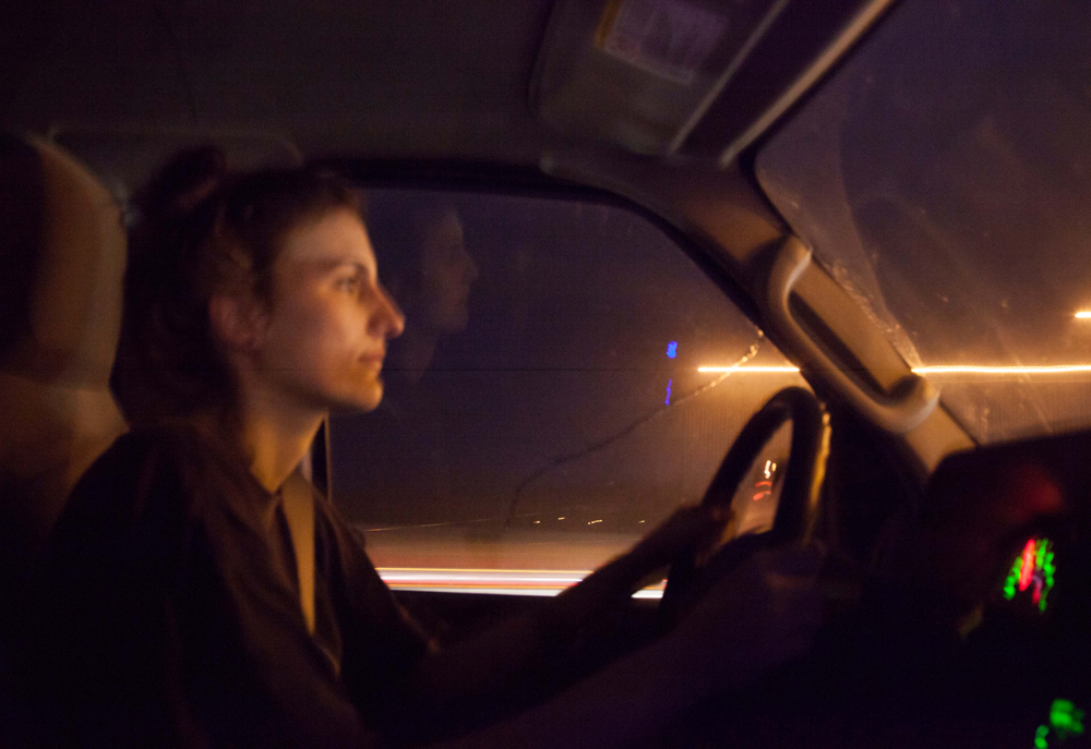 Anna Bieberdorf, WRCT Business Manager, drives into the night.